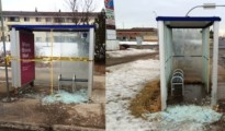 Sometime during the early morning hours on Saturday, Feb. 6, 2016, 14 transit shelters were damaged with at least one pane of glass broken on each.