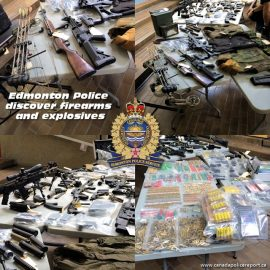 Officers located and seized 12 firearms (various long barrel guns, sawed-off shotguns and handguns), prohibited silencers and suppressors, 28 prohibited magazines (ammunition storage/feeding devices), a large quantity of ammunition and body armour.